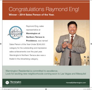Winner! Sales Person of the Year - Raymond Eng.